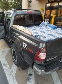 Pickup truck full of water for survivors of Hurricane Michael.