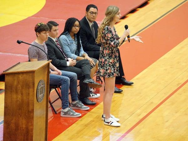 Senior girl winner of declamations addresses student body