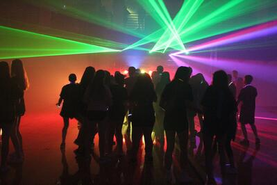 Dance for a Chance 2019 at Tampa Prep students dancing in gym with laser lights