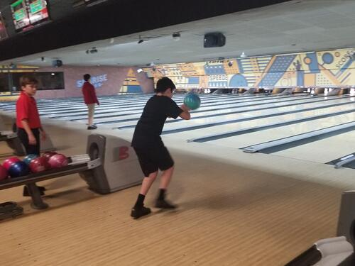 Middle School student bowling