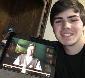 Steve Curtis taking an online screen writing class